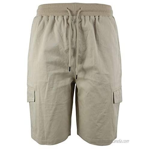 LeeHanTon Cargo Shorts for Men Summer Casual Twill Work Shorts with Elastic Waist