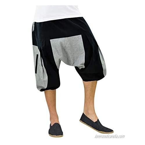 virblatt - Short Pants Men   100% Cotton   Cotton Shorts Harem Shorts Casual Hippy Genie Hippie Aladdin Bermuda Casual