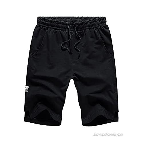 LBL Mens Shorts Casual Elastic Waist Athletic Gym Summer Beach Shorts with Pockets