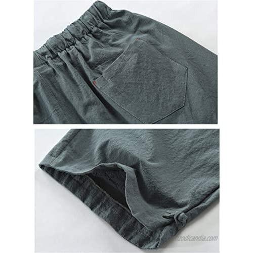 Men's Linen Casual Classic Short Elastic Waist Summer Beach Lightweight Board Slim-Fit with Pockets (Medium Green)