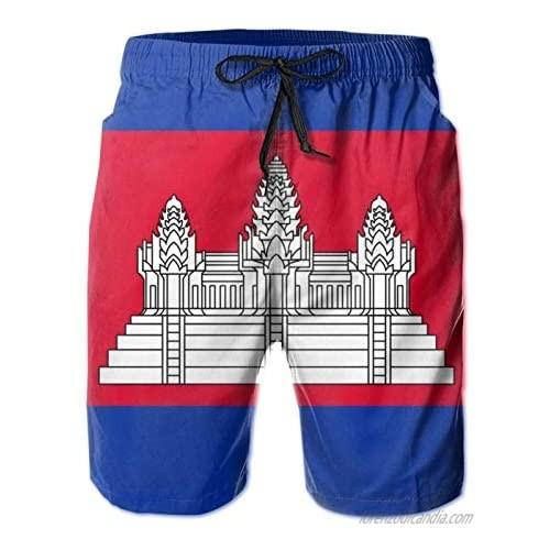 Nomichu Men's Swim Trunks  Cambodian Flag Quick-Dry Swim Trunk  Mens Swim Shorts with Mesh Lining