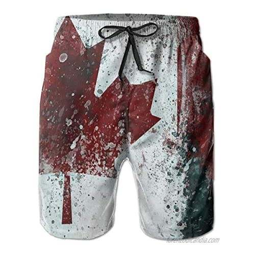 Men's Beach Shorts Quick Dry Beach Swimming Trunks with Mesh Lining Beach Board Shorts Canada Flag Vintage