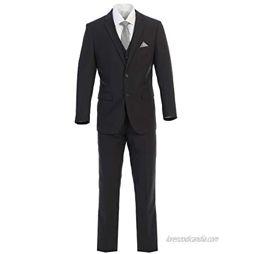 King Formal Wear Elegant Mens Charcoal Gray Two Button Three Piece Suit