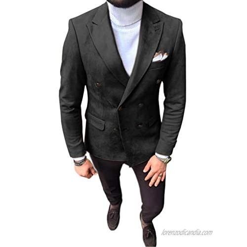 Mens Suit Blazer Double Breasted Suede Wear Coat Formal Slim Fit Single Leather Jacket