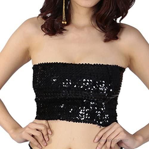 Croozy Women's Sequin Tube Top Shimmer Sleeveless Crop Top Elastic Shiny Tank Top