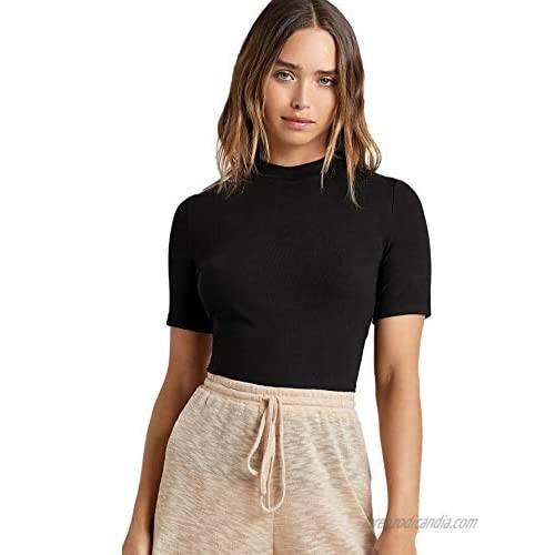 Floerns Women's Basic Mock Neck Short Sleeve Solid Rib Knit Tops Tee Shirts