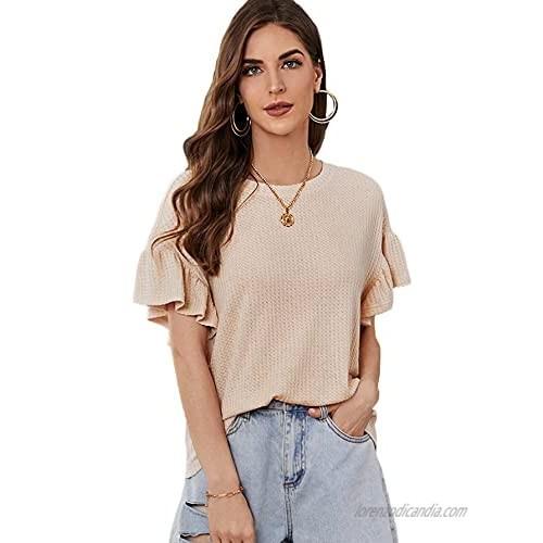 Romwe Women's Waffle Knit Shirts Ruffle Short Sleeve Plain T Shirt Tee Tops