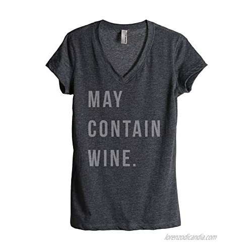 Thread Tank May Contain Wine Women's Fashion Relaxed V-Neck T-Shirt Tee