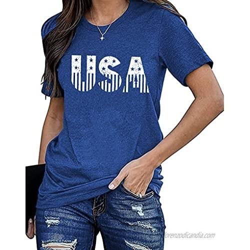 USA Flag Tee Shirt Women 4th of July Gift T Shirt Casual Short Sleeve American Proud T-Shirt Tops