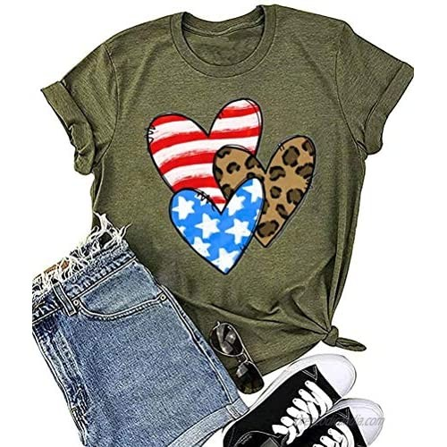 Women Independence Day Love Heart-Shaped America Flag Print Shirts Short Sleeve 4 of July T Shirt Patriotic Tops Graphic Tee