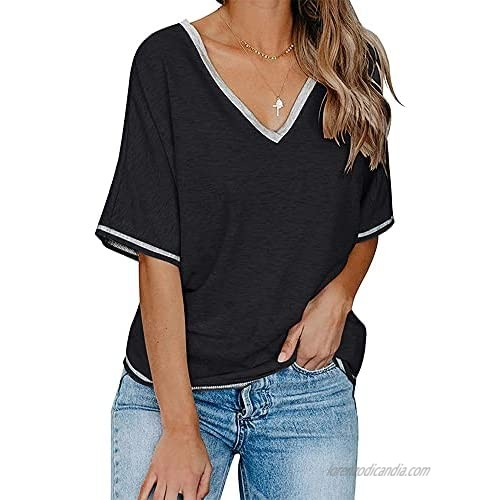 Aoysky Womens Casual T Shirt Summer Loose Short Sleeve V Neck Solid Tops Blouse
