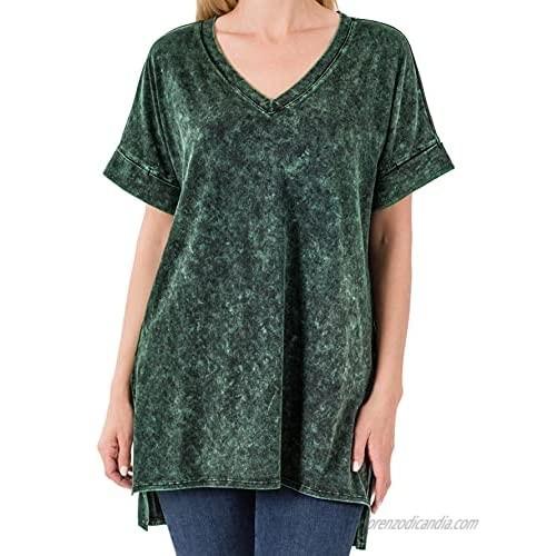 Dreamer P Women's Short Sleeve V Neck Mineral Wash Cotton T Shirt Top Blouse Tunic S-3XL