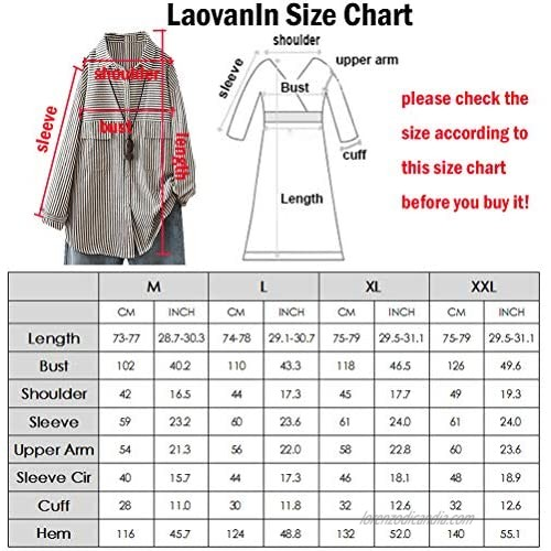 LaovanIn Women's Oversized Linen Shirts Striped Button Down Tunic Shirt Casual Blouses Tops with Pockets