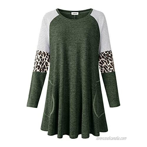 LARACE Swing Tunic Top for Women Plus Size Leopard Long Sleeve Shirt with Pocket