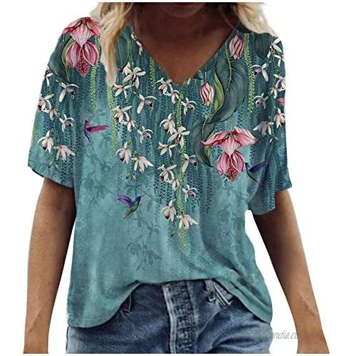 Tshirts for Womens Women T Shirts Flower Print Graphic V Neck Tees Summer Tops Casual Short Sleeve Tops Tunics
