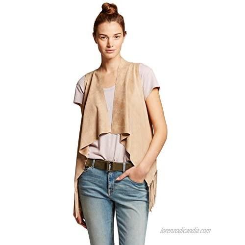 Bagatelle City Women's Faux Suede Sleeveless Fringe Drape Vest