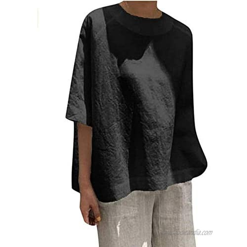 Clopon Womens Half Sleeve Summer Shirts Round Neck Blouse Casual Loose Plus Size Cotton Linen T Shirt
