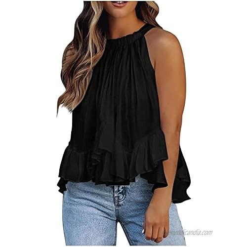 DESKABLY Womens Halter Neck Tank Tops Sleeveless Shirt Pleated Solid Color Ruffle Hem Camisole Irregular Blouse