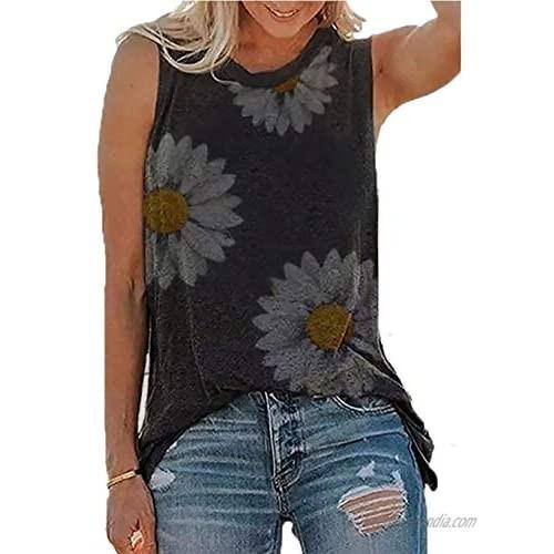 Dilgul Women's Tank Tops Sunflower Cute Printed Vest Sleeveless T-Shirt Casual Summer Tank Top Tunic Tee