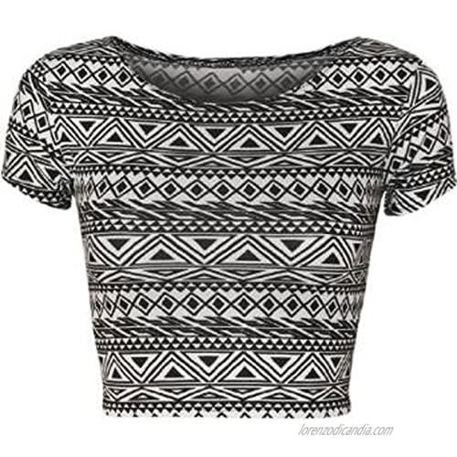 GirlsWalk Women's Tribal Aztec Print Short Stretch Cap Sleeve Vest Crop Top