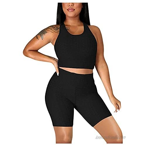 Workout Sets for Women Summer T-shirts 2 Piece Outfits Solid Color High Waist Sport Yoga Sets Casual Jogging Tracksuits