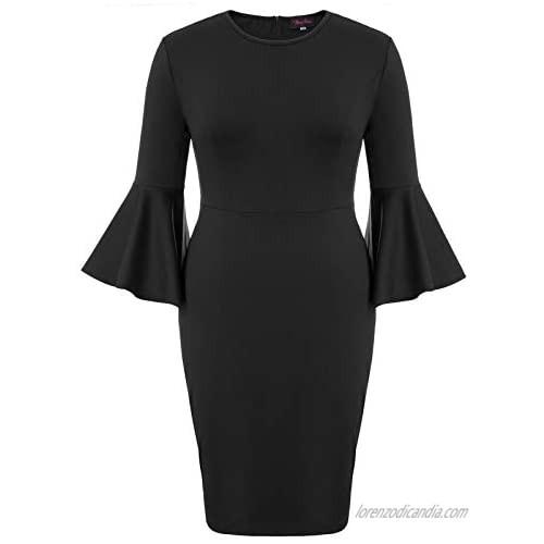 Hanna Nikole Women Plus Size Ruffle Bell Sleeve Flounce Cocktail Pencil Dress