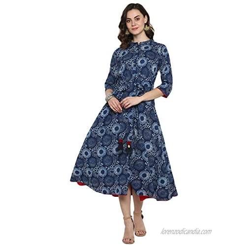 Janasya Indian Women's Blue Pure Cotton Ethnic Dress