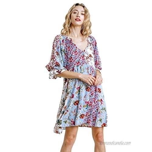 Umgee Women's Floral Mixed Print Puff Sleeve Dress