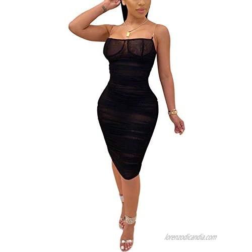 Ainyrose Women's Stretch Mesh See Through Ruched Club Tube Bodycon Midi Dress