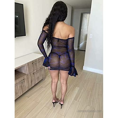 Women Sexy Print Off The Shoulder Flare Long Sleeve Sheer Mesh Ruched Bodycon Night Club Mini Dress